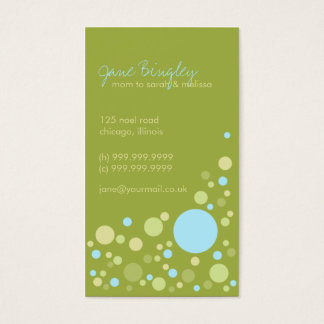 """Retro Dots"" Aqua & May Green Mommy Business Card"