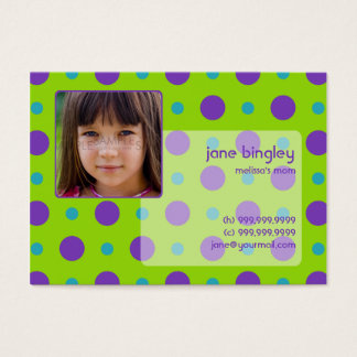 """""""Retro Dots"""" Green & Purple Mommy Business Card"""