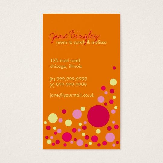 """Retro Dots"" Orange & Pink Mummy Business Card"