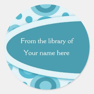 Retro Dots Personalised Bookplates Round Sticker