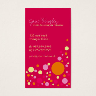 """""""Retro Dots"""" Pink & Orange Mommy Business Card"""