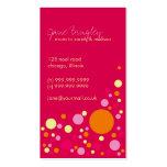"""Retro Dots"" Pink & Orange Mummy Business Card"