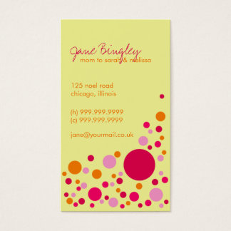 """""""Retro Dots"""" Pink & Yellow Mommy Business Card"""