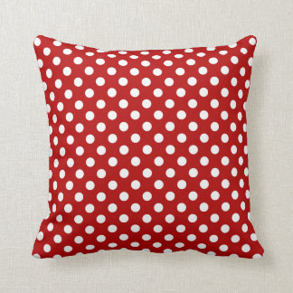 Retro dots - red and white cushion