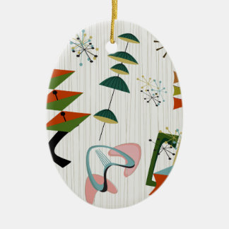 Retro Eames-Era Atomic Inspired Ceramic Oval Decoration