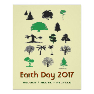 Retro Earth Day 2017 Reduce Reuse Recycle Poster