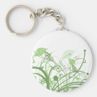 Retro Earthy Butterflies Basic Round Button Key Ring