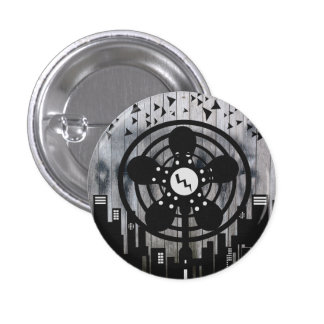 Retro Electric Fan City at Night Pinback Button
