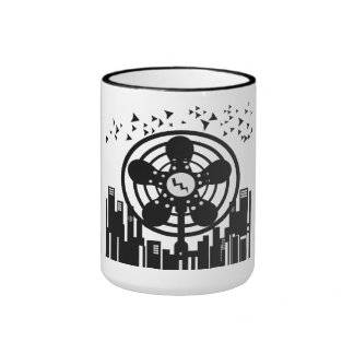 Retro Electric Fan City at Night Coffee Mug