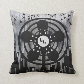 Retro Electric Fan City at Night Throw Pillows