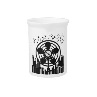 Retro Electric Fan City at Night Beverage Pitcher