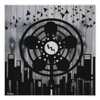 Retro Electric Fan City at Night Print