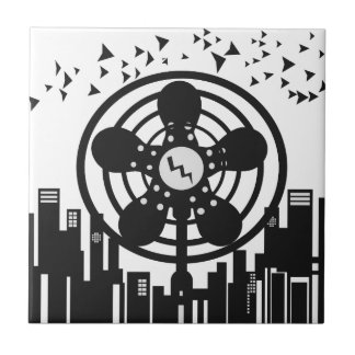 Retro Electric Fan City at Night Tiles