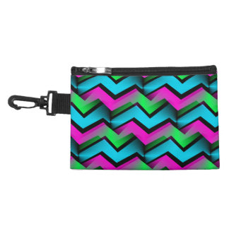 Retro Electric Rainbow Zigzag Pattern Accessories Bag