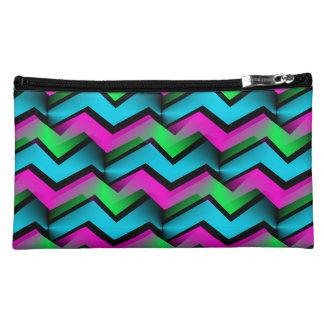 Retro Electric Rainbow Zigzag Pattern Makeup Bags