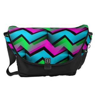 Retro Electric Rainbow Zigzag Pattern Messenger Bag