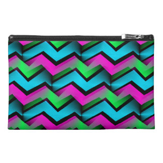 Retro Electric Rainbow Zigzag Pattern Travel Accessory Bag