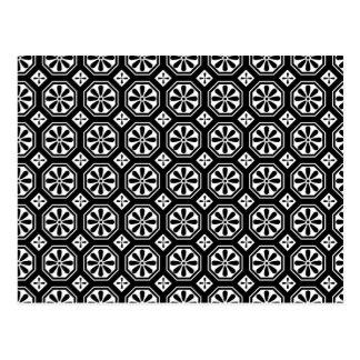 Retro Elegant Abstract Black & White Art Postcard