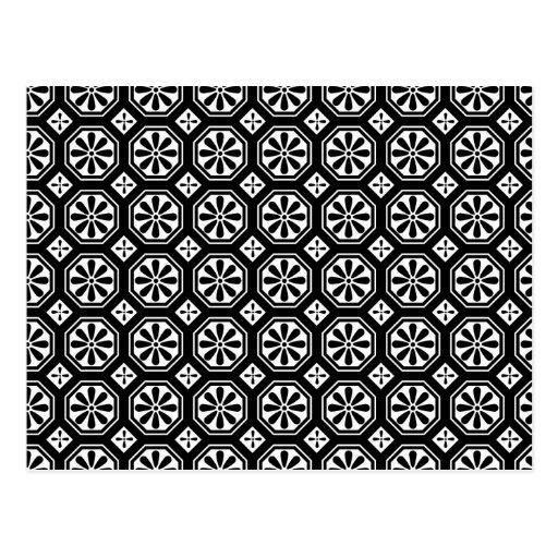 Retro Elegant Abstract Black & White Art Post Cards