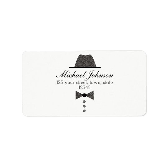 Retro Elegant Gentleman Fashion Black Glamour Chic Address Label