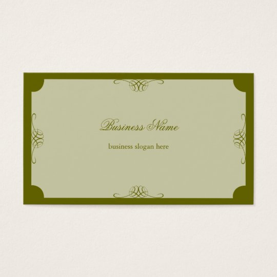 Retro Elegant Simple Dark Olive Green Business Business Card