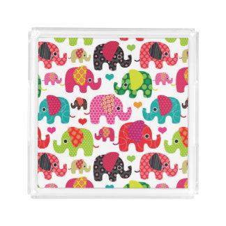 retro elephant kids pattern wallpaper acrylic tray