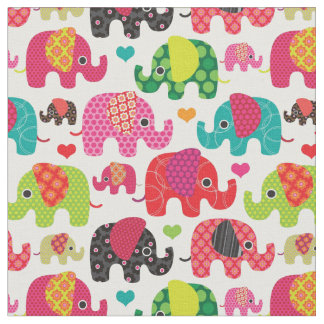 retro elephant kids pattern wallpaper fabric