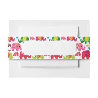 retro elephant kids pattern wallpaper invitation belly band