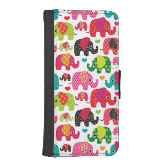 retro elephant kids pattern wallpaper iPhone SE/5/5s wallet case