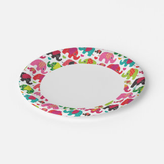 retro elephant kids pattern wallpaper paper plate
