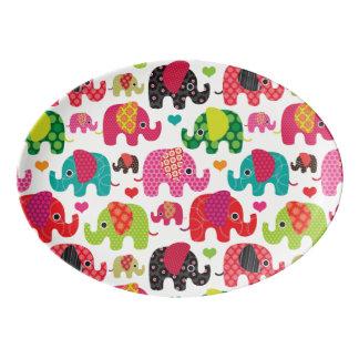 retro elephant kids pattern wallpaper porcelain serving platter