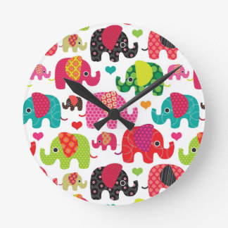 retro elephant kids pattern wallpaper round clock