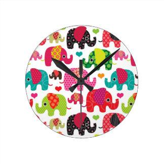 retro elephant kids pattern wallpaper round clock