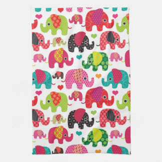 retro elephant kids pattern wallpaper tea towel