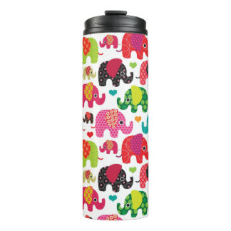 retro elephant kids pattern wallpaper thermal tumbler
