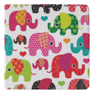 retro elephant kids pattern wallpaper trivet