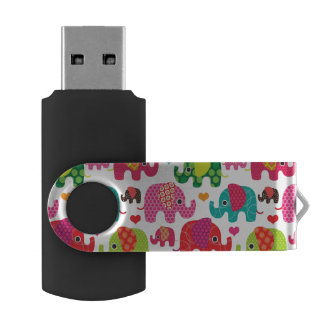 retro elephant kids pattern wallpaper USB flash drive