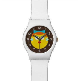 Retro Emoji Lipstick Lady Wristwatch