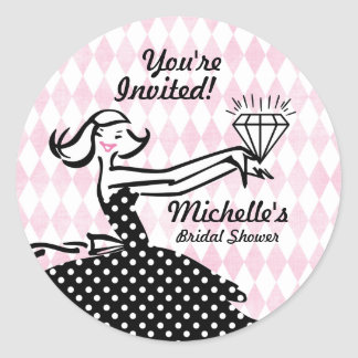 Retro Engaged II Bridal Shower Sticker