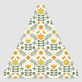 Retro European Flowers Triangle Sticker