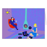 Retro Evening at Home Greeting Card