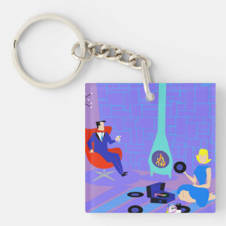 Retro Evening at Home Keychain