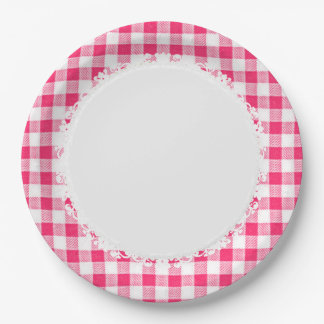 Retro-Everyday_Picnic_Pink-Check_Plaid 9 Inch Paper Plate