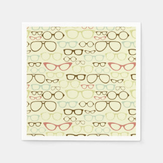 Retro Eyeglass Hipster Disposable Serviettes