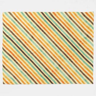 Retro Fade Colors Stripes Pattern Fleece Blanket