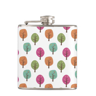 Retro Fall Autumnal Trees Pattern Hip Flasks