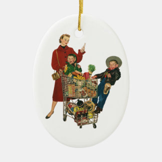 Retro Family, Mom and Kids, Cart Grocery Shopping Christmas Ornament