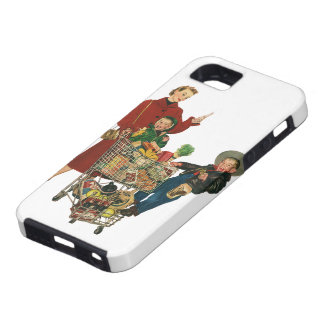 Retro Family, Mom and Kids, Cart Grocery Shopping iPhone 5 Cases