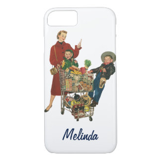 Retro Family, Mom and Kids, Cart Grocery Shopping iPhone 7 Case