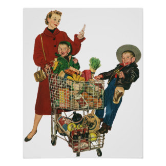 Retro Family, Mom and Kids, Cart Grocery Shopping Poster